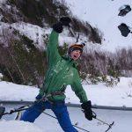 Fjellsport og Kajakk NZ Fornøyd med å klatre til toppen på en issøyle