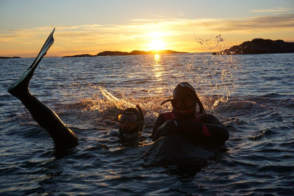 Elever fra Vefsn Folkehøgskole dykker